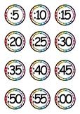 Clock Labels (Rainbow Pop Theme)