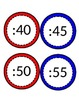 Clock Labels Red and Blue