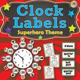 Telling Time Clock Labels - Superhero Themed Classroom Decor, Plus Flash Cards