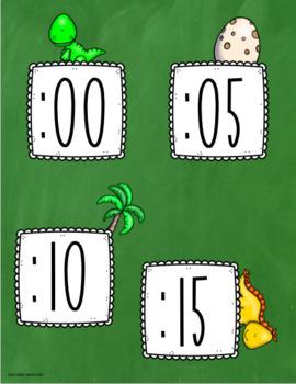 Clock Labels Telling Time Dinosaur Theme