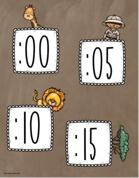 Clock Labels Telling Time Jungle Safari Theme
