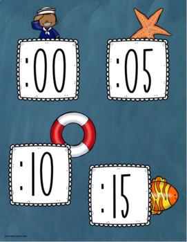 Clock Labels Telling Time Nautical Sailing Sailor Sea Life Theme