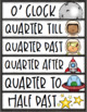 Clock Labels Telling Time Outer Space Theme