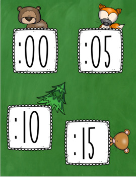 Clock Labels Telling Time Woodland Animals Forest Theme