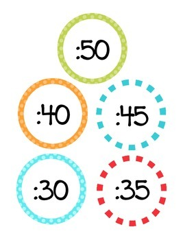Clock Labels Turquoise Carnival