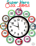 Clock Labels for Telling Time {Super Hero Theme}