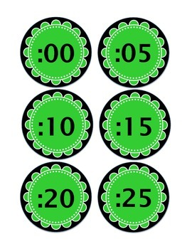 Clock Labels in Green & Black