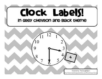 Clock Labels in Grey Chevron Background and Black Numbers