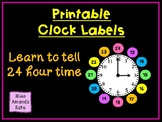 Clock Labels to Learn 24 Hour Time
