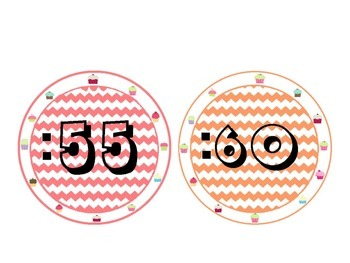 Clock Labels with Cup Cake and Chevron Themed: