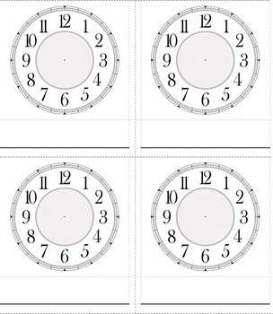 Clock Learning 3 Part Cards