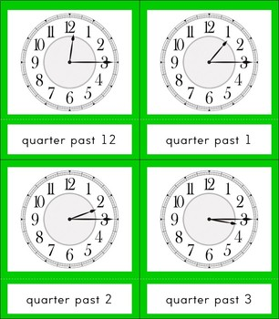 Clock Learning 3 Part Cards with Borders
