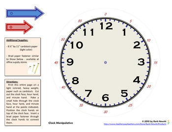 Clock Manipulative to Teach Time by Barb Newitt | TpT