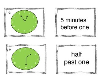 Telling Time: Task Cards or Memory Game