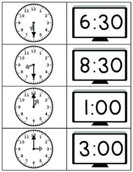 Clock Matching Game Freebie