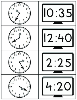 Clock Matching Game with 5 Minute Increments