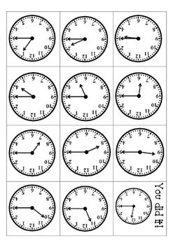Clock Math Station Flip Card Games