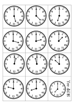 Clock Math Station Flip Card Games