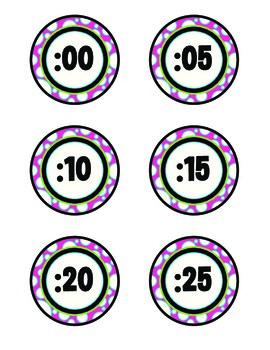 Clock Minute Labels-Black & White Dots