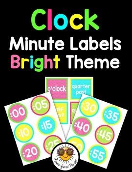 Clock Minute Labels - Bright Polka-Dot Theme
