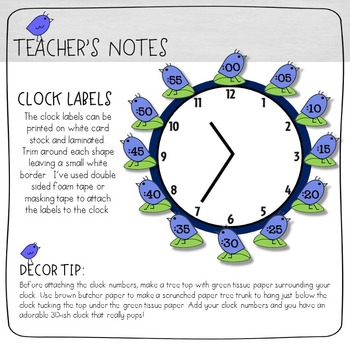 Clock Number Labels - Birds In Blue Classroom Decor