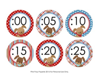 Clock Number Labels Dog Gone Cute Theme