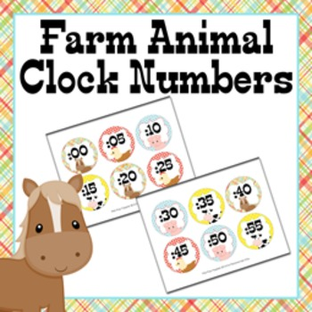 Clock Number Labels Farm Animal Theme