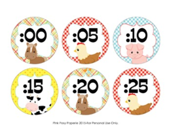 Clock Number Labels Farm Animal Theme