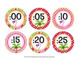 Clock Number Labels Flamingo Theme