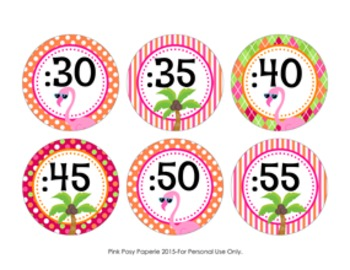 Clock Number Labels Flamingo Theme