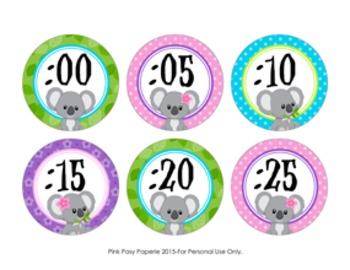 Clock Number Labels Koala Theme
