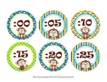 Clock Number Labels Monkey Theme