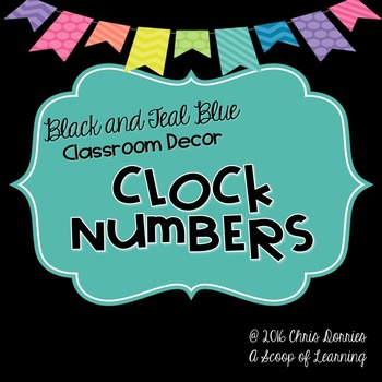 Clock Numbers - Black and Teal Blue
