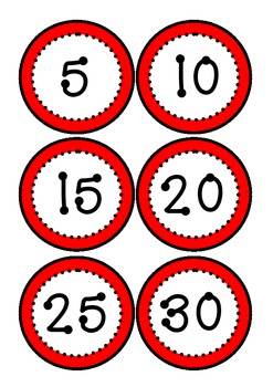 Clock Numbers (Black, white and red theme)