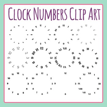 Clock Numbers Clip Art Set for Commercial Use