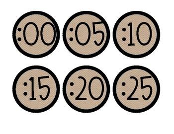 Clock Numbers Labels - Burlap