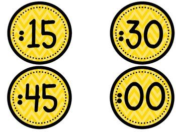 Clock Numbers - Orange chevron (freebie)