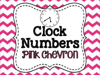 Clock Numbers Pink Chevron