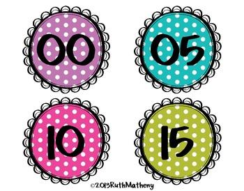 Clock Numbers – Polka Dots
