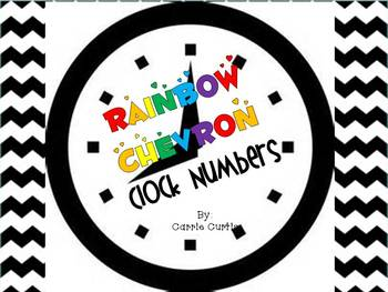 Clock Numbers: Rainbow Chevron