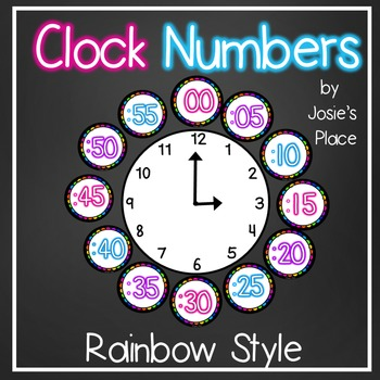 Clock Numbers Rainbow Style