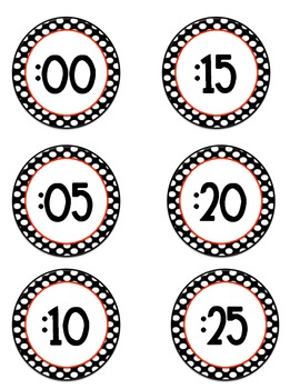 Clock Numbers - Red & Black Polka Dots