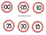 Clock Numbers: Red Chevron