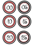 Clock Numbers- Red and Black