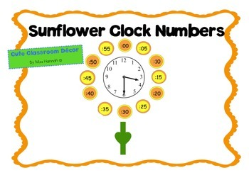 Clock Numbers- Sunflower