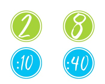 Clock Numbers and Labels in Blues and Greens