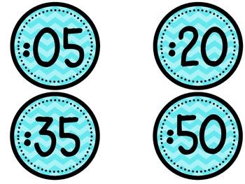 Clock Numbers - light blue chevron (freebie)