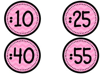 Clock Numbers - pink chevron (freebie)