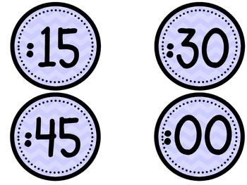 Clock Numbers - purple chevron (freebie)