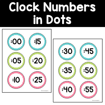Clock Numbers in Pink, Turquoise and Lime Green (3 options)